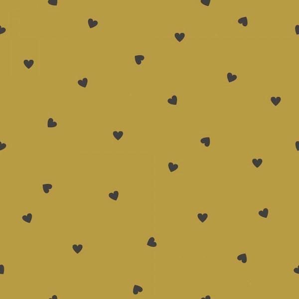 Lilipinso Vlies Tapete Herzchen schwarz auf senf