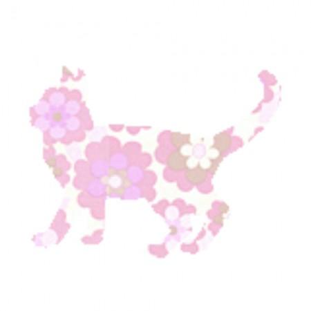 Inke Tapetentier Katze Blumen rosa