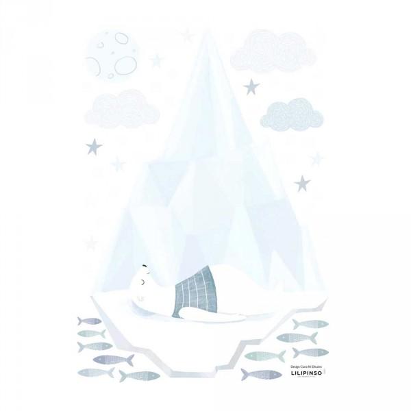 Lilipinso Wandsticker A3 Schlafender Eisbär auf Eisberg grau hellblau weiss