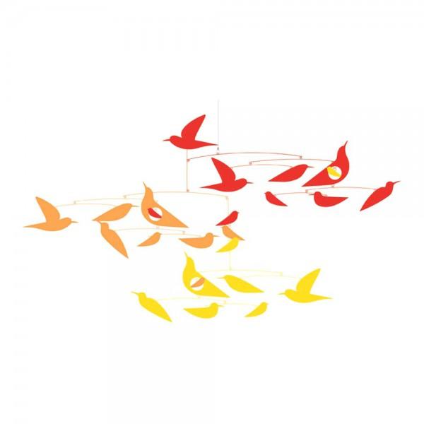 Djeco Kinder Mobile Vögel rot gelb