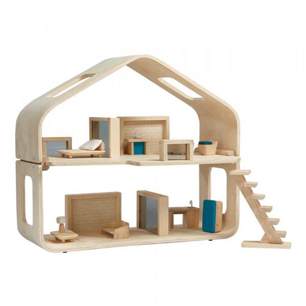 Plan Toys Modernes Puppenhaus möbliert Holz natur