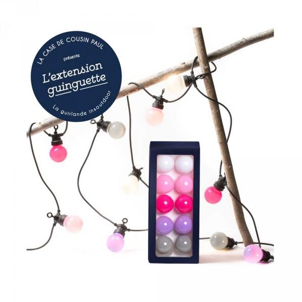 Cousin Paul Lichterkette Outdoor LED Verlängerung Venice weiss rosa lila grau