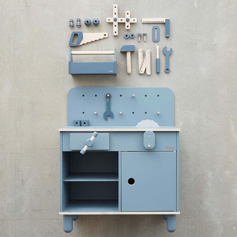 Flexa Kinder Werkbank Holz blau