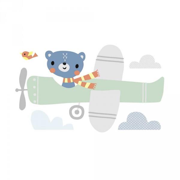 Lilipinso Wandsticker XL Bär im Flugzeug grau grün