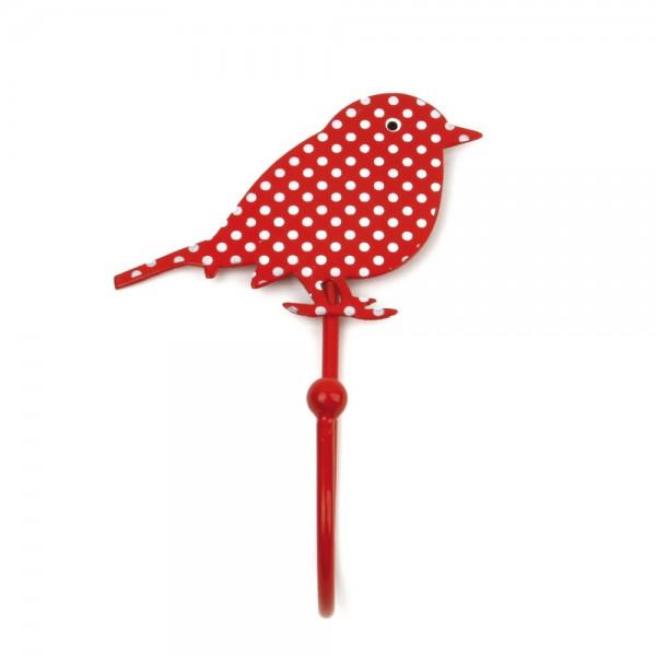 Knaufmanufaktur Kleiderhaken Vogel rot Punkte weiss