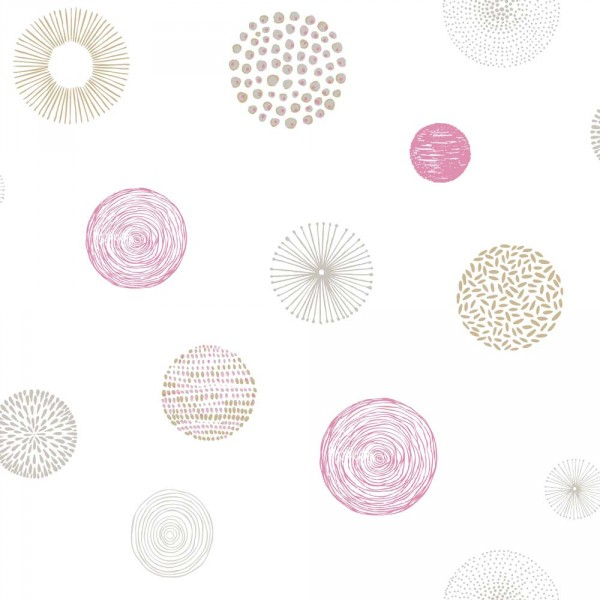 Caselio Pretty Lili Tapete Muster Kugeln pink grau