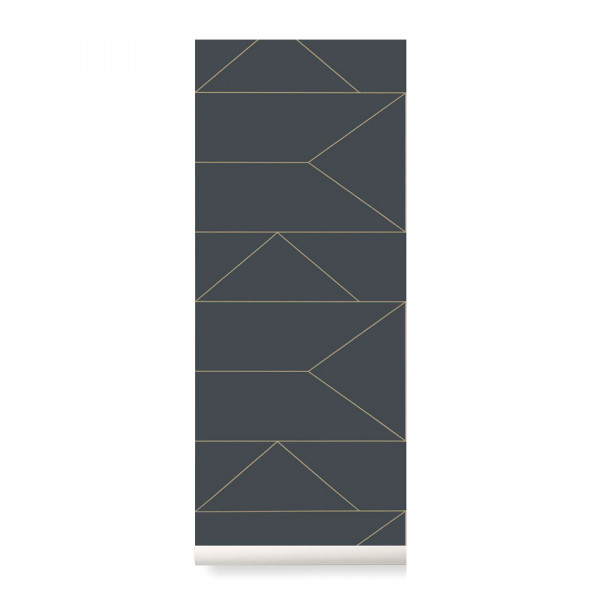 Ferm Living Tapete Lines graphit mit gold