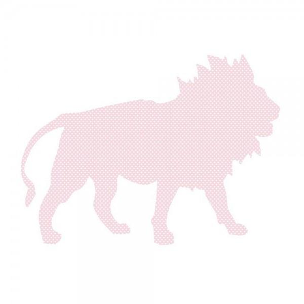Inke Tapetentier Löwe rosa Punkte weiss