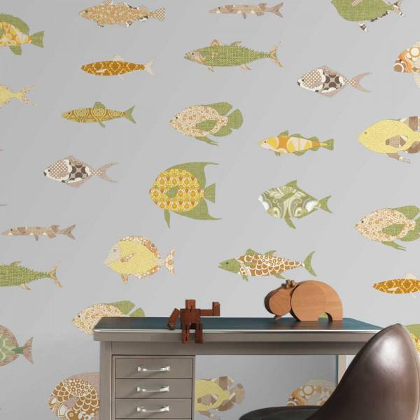 Inke Wandbild Fische grau