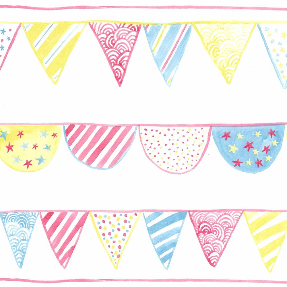 Camengo bord re summer camp wimpel lime t rkis pink bei kinder r ume - Wimpel babyzimmer ...