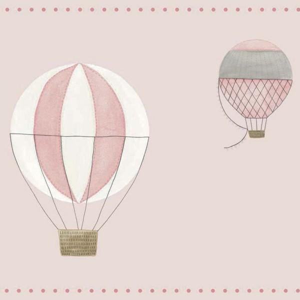 Casadeco My Little World Bordüre Heissluftballons rosa grau