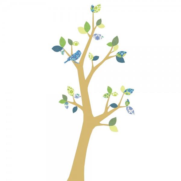 Inke Tapetenbaum 3 Stamm gold Blätter blau grün