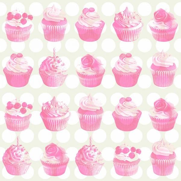 Rasch Textil Everybody Bonjour Tapete Muffins rosa perlmutt