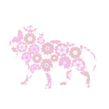 Inke Tapetentier Löwe Blumen rosa