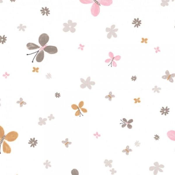 Casadeco Stoff Schmetterlinge ocker Jules & Julie