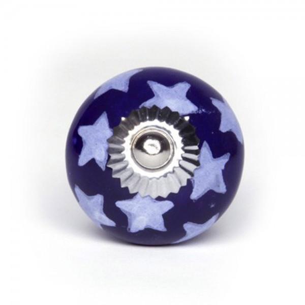 Knaufmanufaktur Möbelknopf Keramik blau Sterne