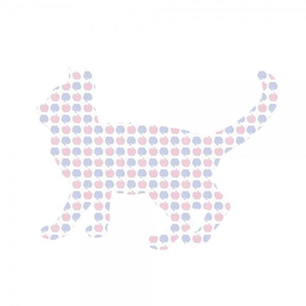 Inke Tapetentier Katze Apfelmuster blau rosa