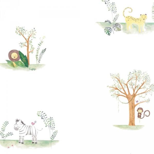Casadeco Alice & Paul Stoff Dschungeltiere grün braun