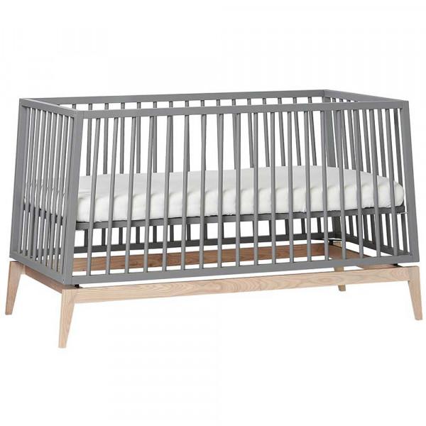 Leander Babybett Luna grau / Eiche 140x70