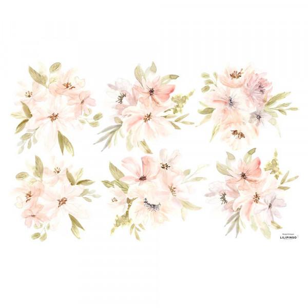 Lilipinso Wandsticker Blütengebinde apricot grün