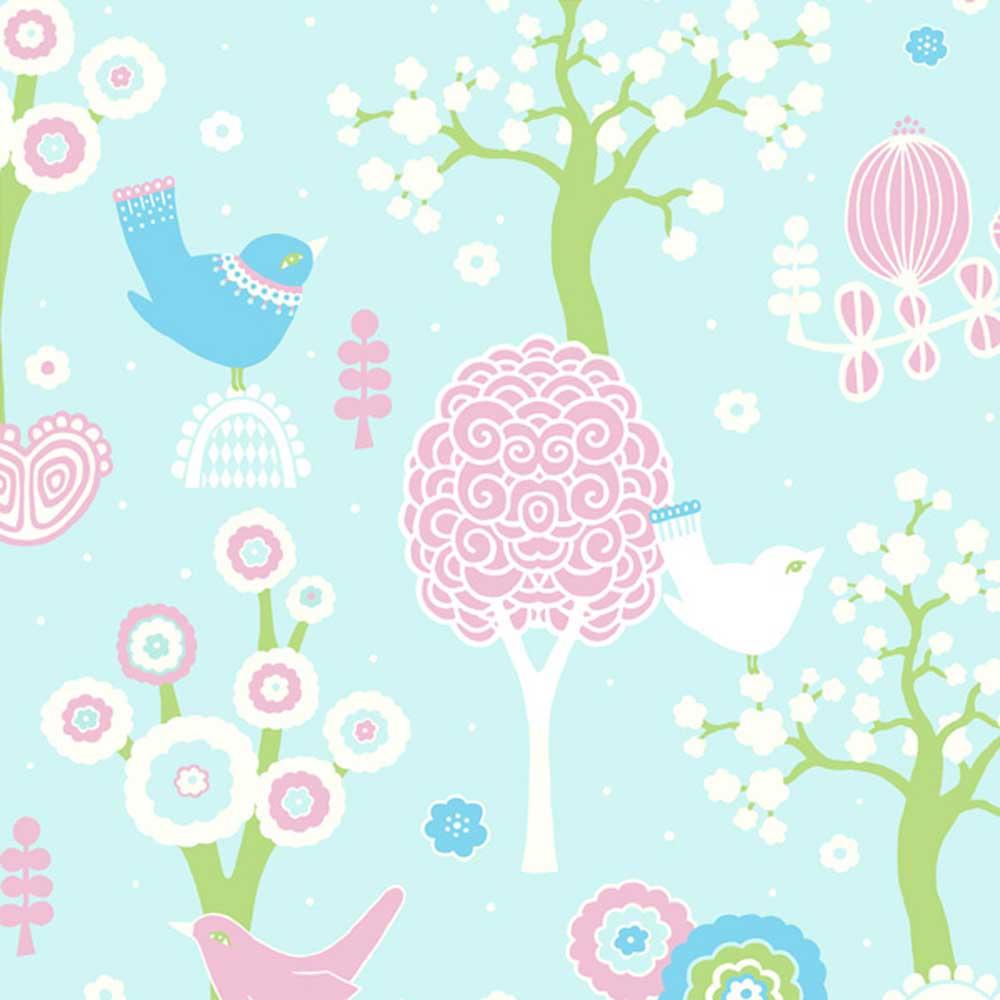Majvillan Tapete Vlies Vogel & Wald türkis rosa bei kinder räume