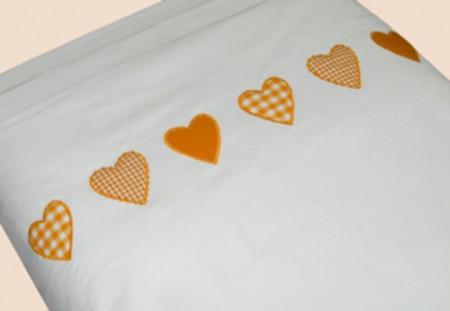 Taftan Bettwäsche 100 x 135 Herzen orange