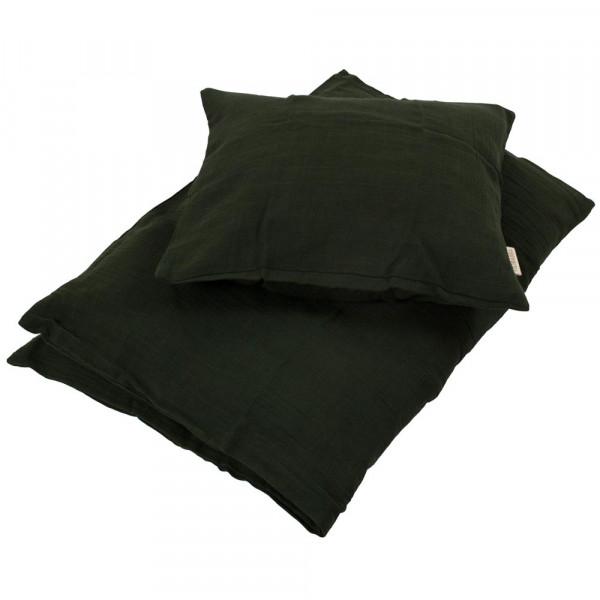 Filibabba Musselin Babybettwäsche dunkelgrün 70x100