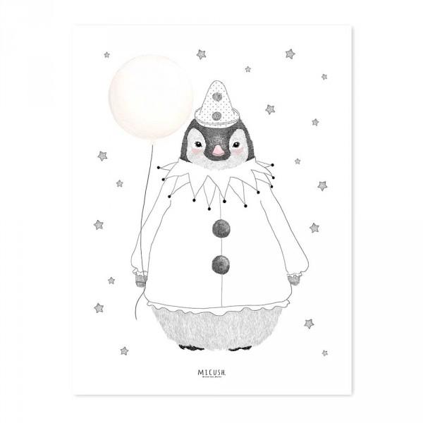 Lilipinso Poster Pinguin mit Ballon schwarz rosa