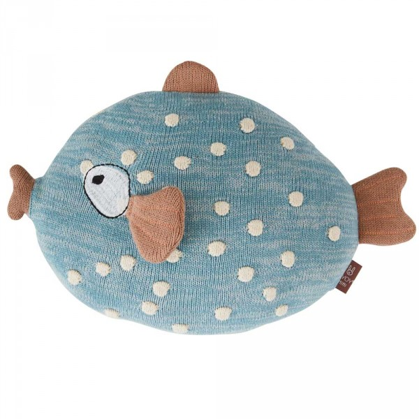 OYOY Deko Strickkissen / Kuscheltier Fisch Little Finn blau