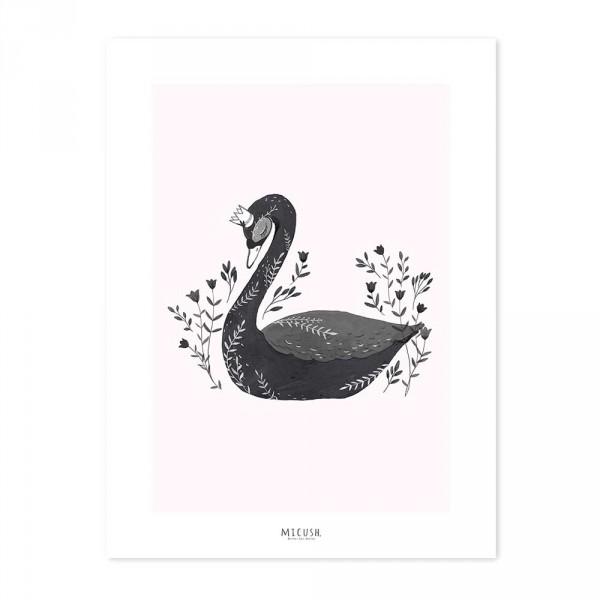 Lilipinso Poster schwarzer Schwan mit Krone rosa schwarz
