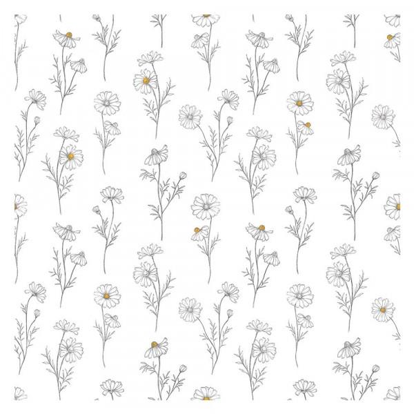 Lilipinso Vlies Tapete Kamillenblüten grau