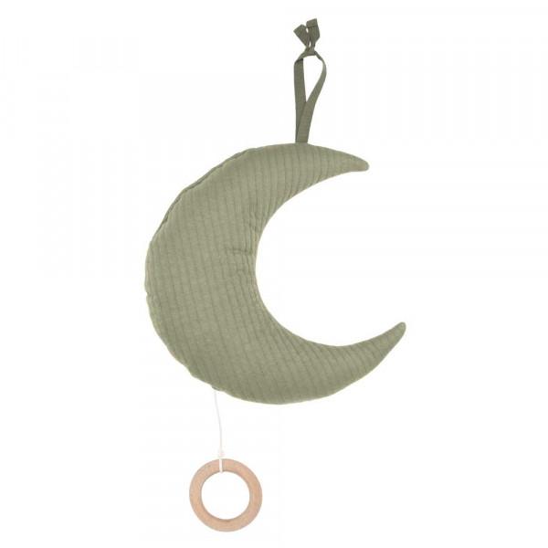 """Little Dutch Spieluhr Mond uni oliv """"Pure Olive"""""""