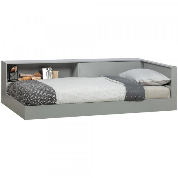 Woood Kinderbett mit Ablage grau