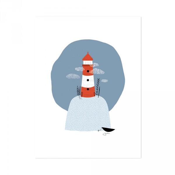 Lilipinso Poster Leuchtturm rot grau