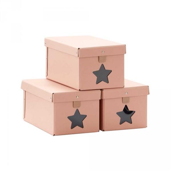 Kids Concept 3er Set Papp Schachteln Stern rosa