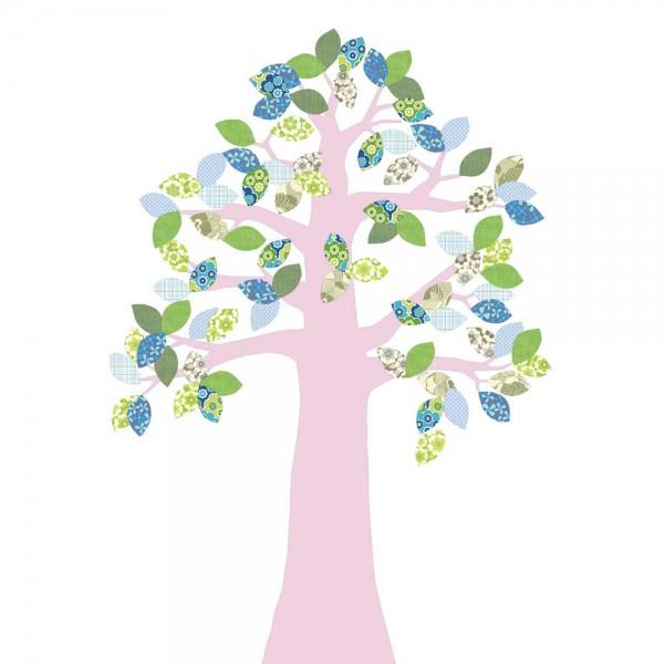 Inke Tapetenbaum 2 Stamm rosa Blätter grün blau
