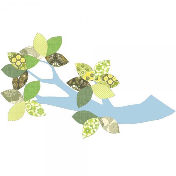 Inke Tapetenast hellblau Blätter grün