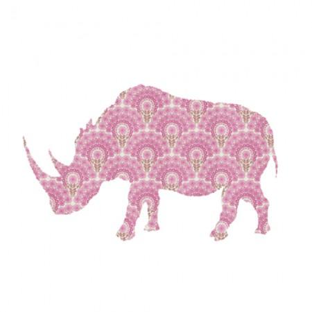Inke Tapetentier Nashorn rosa