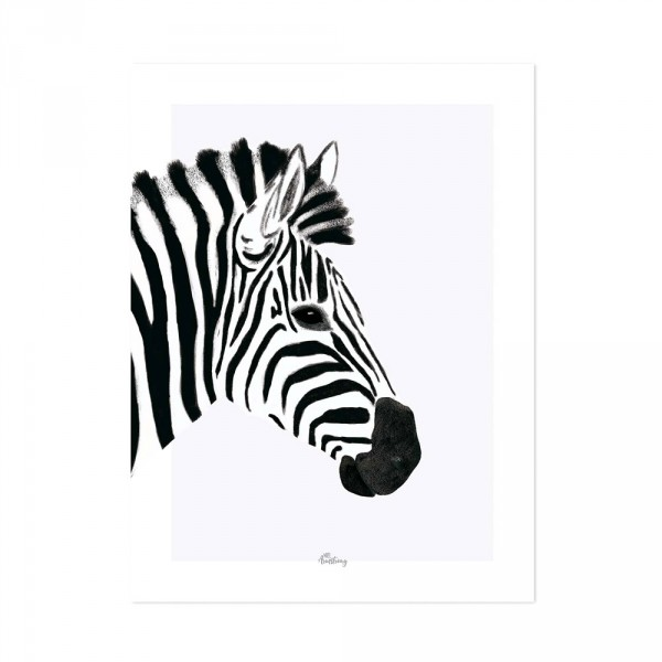 Poster schwarz weiss Zebra von Lilipinso