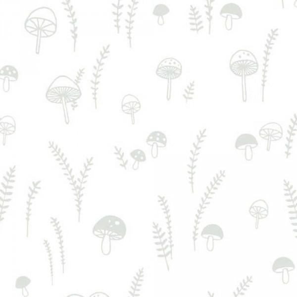 Casadeco My Little World Stoff Pilze und Farne grau
