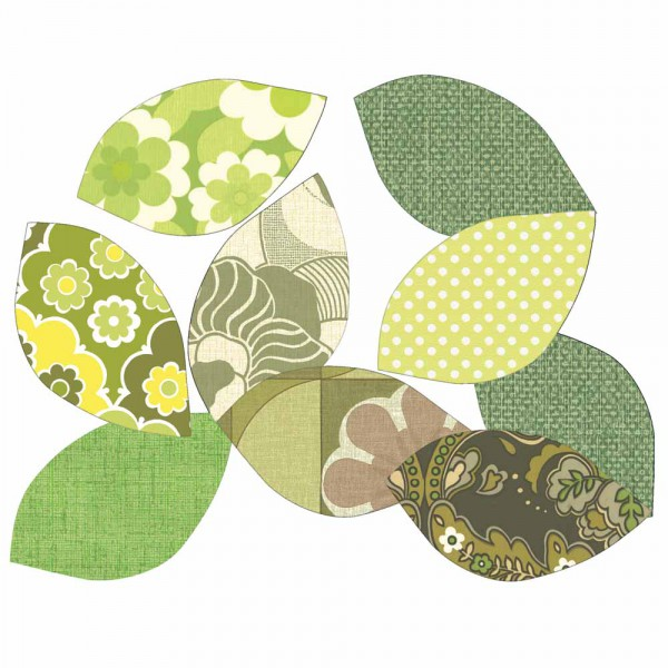 Inke Tapetenblätter grün