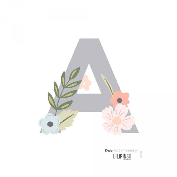 Lilipinso Sticker Buchstabe mit Blüten grau rosa pastell A