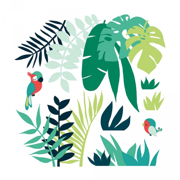 Lilipinso Wandsticker XL Dschungel mit Papagei grün rot