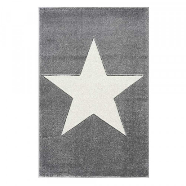 Livone Kinderteppich Stern weiss auf grau