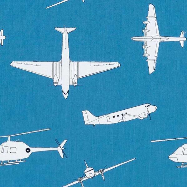 Harlequin all about me bestickter Stoff Flugzeuge blau