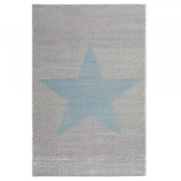 Livone Kinderteppich Stern blau auf grau