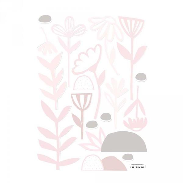 Lilipinso Wandsticker A3 Blumen und Blätter rosa grau