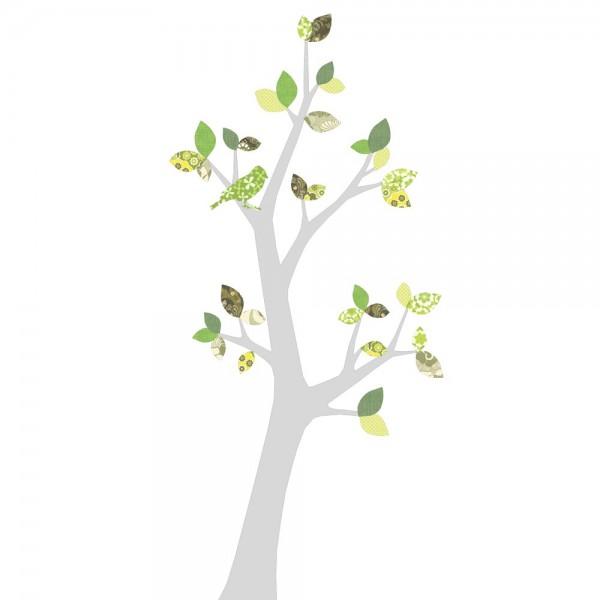 Inke Tapetenbaum 3 Stamm silber Blätter grün