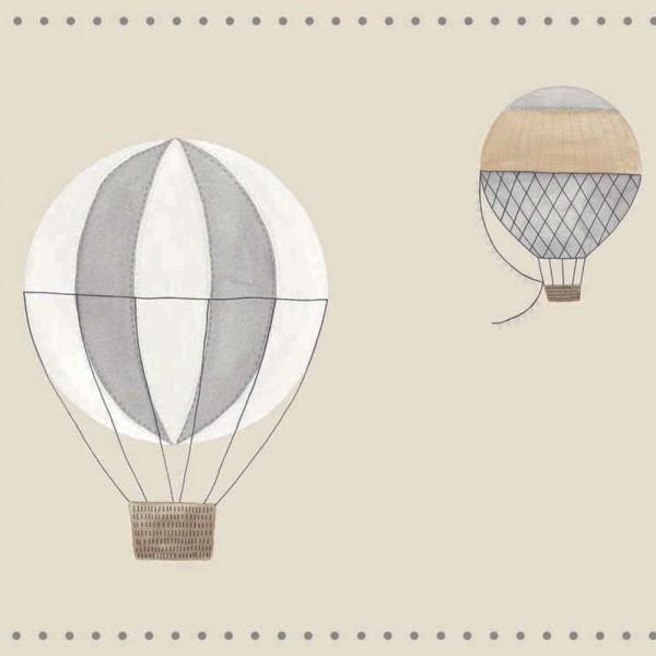 Casadeco My Little World Bordüre Heissluftballons grau braun