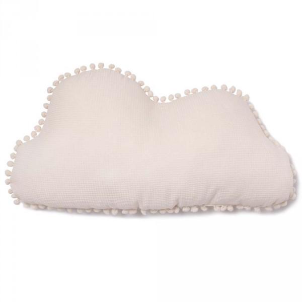 "Nobodinoz Kissen Wolke ""Marshmallow"" mit Pom Poms natur"
